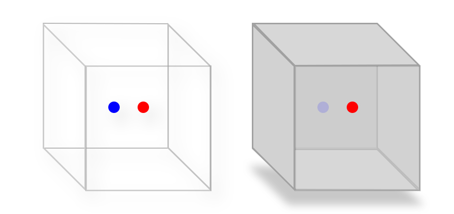 The blue dot is marked on the side that is facing away from the observer while the red facing the observer. However, until shadows and lights are used, the orientation of the cube remains unclear.