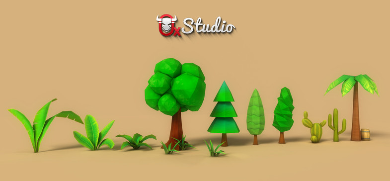Low-Poly Trees and Vegetation with Hand-Drawn Textures