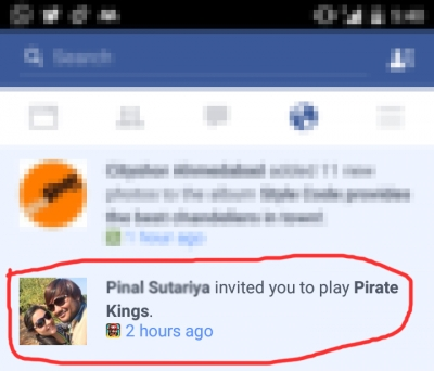 Face book_notification for game app
