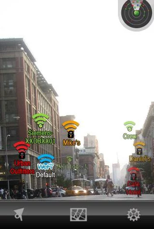 An AR app that shows WiFi spots