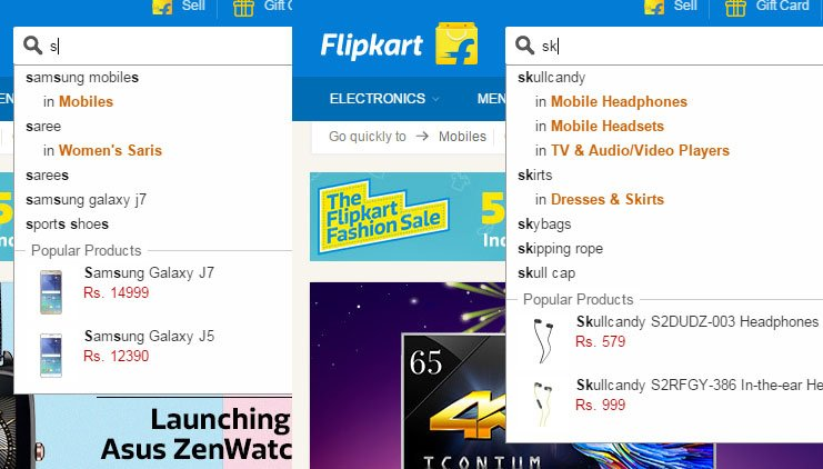 Search Results on Flipkart. The results change with successive keystrokes. While this does not imply that Flipkart employs Algolia, but this is how speed search functions.