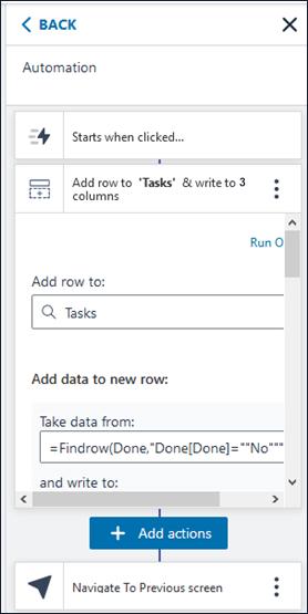 Amazon Honeycode Add Task