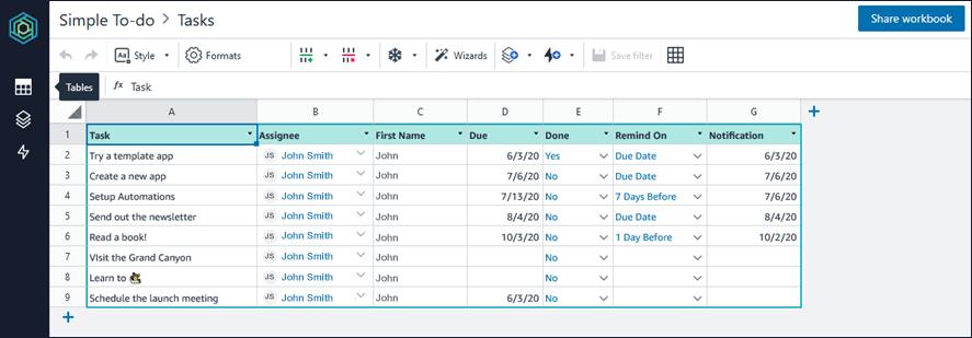 Amazon Honeycode Task table